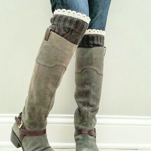 Boot Cuffs with lace (Charcoal)